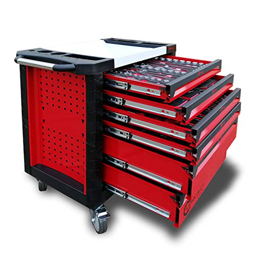 Coastech Werkzeugwagen mit 4 bestückten Schubladen, 269 teilige Chrom Vanadium Stahl Profi Werkzeug Set, mit Edelstahl Arbeitsplatte, auf Rollen, verschließbar, hochwertige Montagewagen