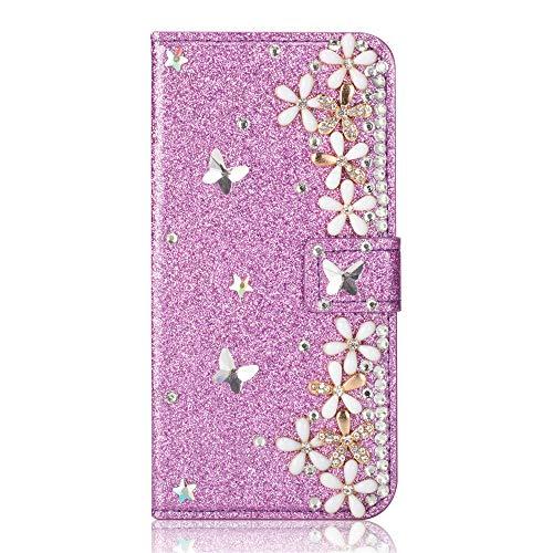 Capa carteira XYX para iPhone 11, capa carteira para iPhone 11, capa carteira de couro PU com design de flor da sorte com glitter para meninas e mulheres para iPhone 11 de 6,1 polegadas (roxa)