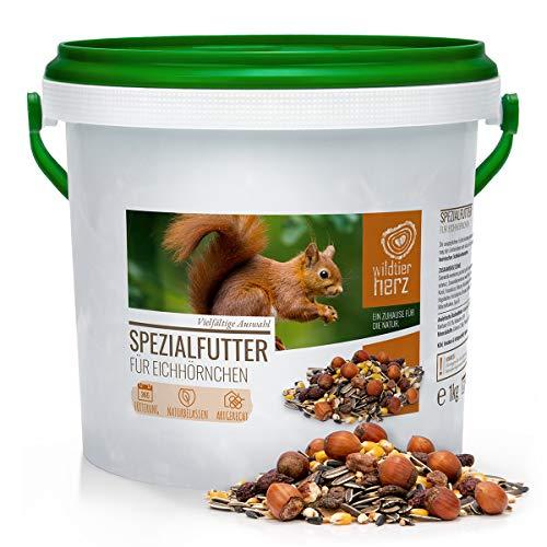wildtier herz | Eichhörnchenfutter 1 kg für Eichhörnchen und Streifenhörnchen – Futtermischung in Premium-Qualität, artgerecht & ganzjährig füttern
