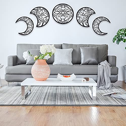 Moon Wall Decor, 5pcs Moon Phase Wall Hanging, Above Bed Boho Nordic Natural Wood Unique Moon Interior for Living Room, Bedroom, Apartment Art and Wall Decoration