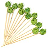 "PuTwo Cocktail Picks 100 Counts 4.7"" Bamboo Appetizer Toothpicks Wooden Decorative Cocktail Sticks for Appetizers Fancy Toothpick for Cocktail Party - Green Leaf Toothpicks"