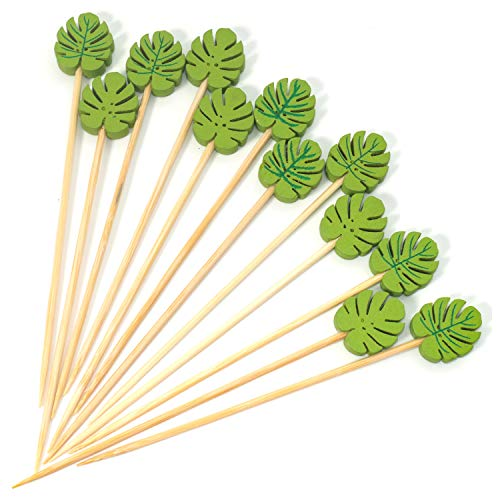 PuTwo Cocktail Picks 100 Counts 4.7' Bamboo Appetizer Toothpicks Wooden Decorative Cocktail Sticks for Appetizers Fancy Toothpick for Cocktail Party - Green Leaf Toothpicks
