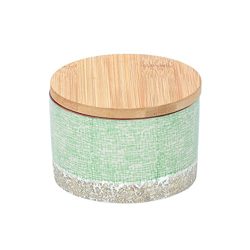 Tranquillo Dose Japanese Green, Aufbewahrungsdose aus Steingut groß mit rustikalem Fuß und abnehmbarem Bambusdeckel mit Gummidichtung, Grün, 12 x 8,5 cm