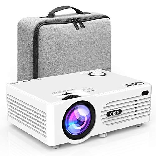 Proyector QKK 5000 Lumen Soporta 1080P Full HD, Proyector HD Nativo 720P con Bolsa de Transporte, Proyector Video Compatible con los TV Stick PS4 HDMI SD AV USB, Proyector Teatro en Casa, Blanco.