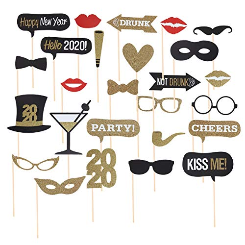 Amosfun - 26 piezas 2020 Happy New Year Photo Booth Party Selfie Props Party Booth Stick