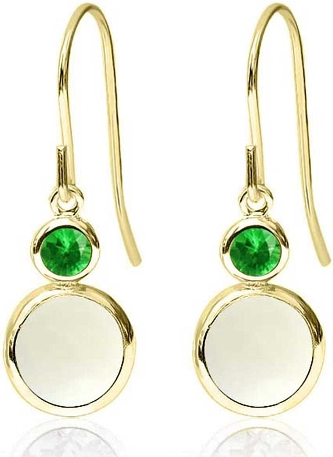 1.58 Ct Round White Simulated Opal Simulated Tsavorite 14K Yellow gold Earrings