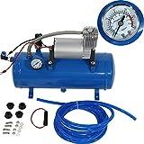 Elektrische Luftkompressor, 150 psi / 12V Elektro-Luftverdichter mit 6 Liter Tank Gummireifen-Pumpe für Luft-Horn-Zug LKW, Auto Fahrräder Reifen, Blau
