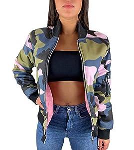 Worldclassca Damen Camouflage Bomber Jacke MILITÄR ROSA PINK Bomberjacke Retro Piloten Biker ÜBERGANGS Blouson Fliegerjacke Army Parka KURZ MIT REIßVERSCHLUSS Zip (S/M - (36-38), Rosa-Camouflage)