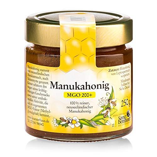 Sanct Bernhard Manuka-Honig MGO 200+ 100 % rein, aus Neuseeland, mit antibakterieller Aktivität, Inhalt 250 g