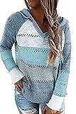 FANGJIN Oversize Hoodie Winterpullover Damen Langarmshirts Mit Kapuze für Frauen Strickpullover Pullover Damen Winter Blau XL