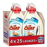 Le Chat Sensitive – Lessive Liquide Hypoallergénique – 100 Lavages (4 x 1.25L) – Savon de Marseille & Lait d'Amande Douce