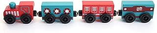 Guoainn 4Pcs Colorful Mini Wooden Magnetic Train Cars Railway Playset Education Kids Toy 4pcs