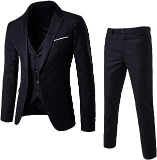 Men's 3 Pieces Suits Slim Fit Suit One Button Blazer Business Wedding Dress Jacket Vest Pants Suits Set