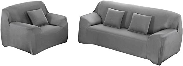 WOWTOY Sofa Cover 1 2 3 4 Seater Slip Cover Sofa Couch Stretch Elastic Fabric Sofa Protector (2 Seater, Grey)