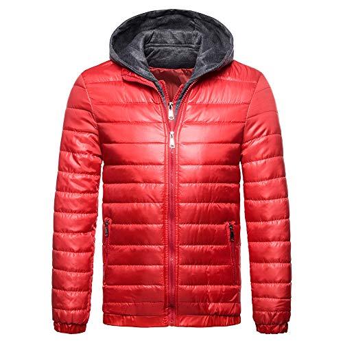 Amphia Herren Daunenmantel Daunenjacken Winterjacke,Männer Herbst Winter Casual Long ReißVerschluss Hoodie Ärmel Solid Baumwolle Outwear Top(Rot,XXL)