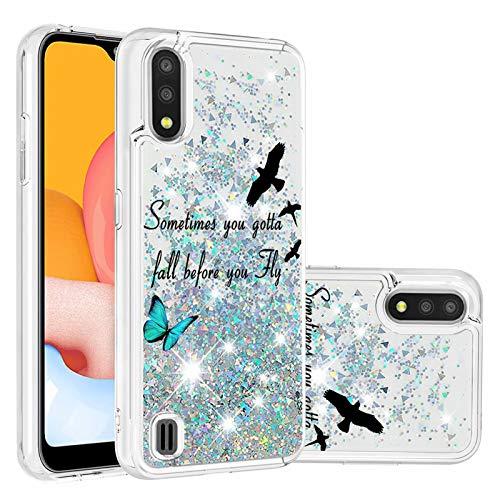Miagon Flüssig Hülle für Samsung Galaxy A01,Glitzer Treibsand Handyhülle Glitter Quicksand Schutzhülle Bumper Case Cover,Vogel