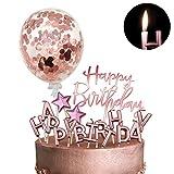 iZoeL Tortendeko Rosegold Happy Birthday Kerzen Konfetti Luftballon Sterne Cake Topper Kuchendeko Rosa Gold Geburtstag Dekoration