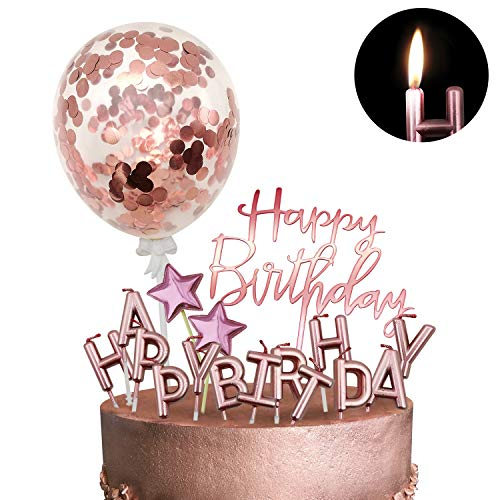 iZoeL Tortendeko Rosegold Gold Silber Happy Birthday Kerzen Konfetti Luftballon Sterne Cake Topper Kuchendeko Rosa Gold Geburtstag Dekoration (Rosegold)
