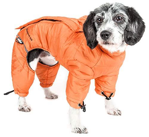 DOGHELIOS 'Thunder-Crackle' Full-Body Bodied Waded-Plush Adjustable and 3M Reflective Pet Dog Jacket Coat w/ Blackshark Technology, Small, Sporty Orange