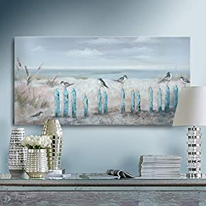Ocean Beach Wall Art 3D Framed Hand-Painted Seasca...