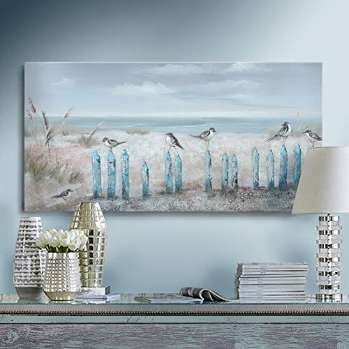 Ejart Ocean Beach Wall Art 3D Framed Hand-Painted Seascape Oil Painting Perching Bird Canvas Artwork 'The Tranquility by The Sea Shore' for Living Room Bedroom Décor Coastal Blue 16x32inch