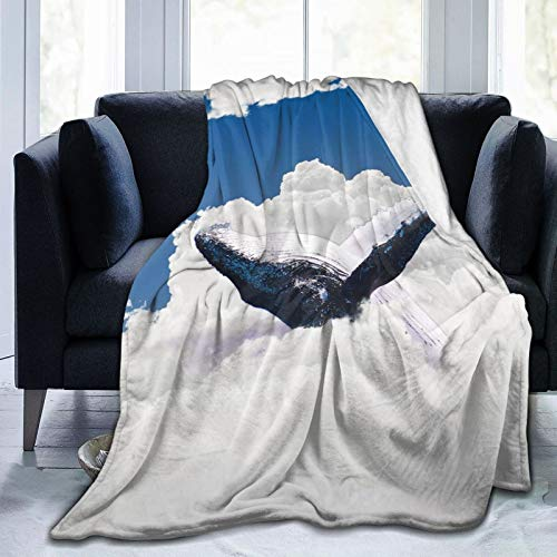 2021 Skin-Friendly Ultra-Soft Fleece Blanket for Adult Anti Fleece Blanket,Giant Creature of The Oceans Big White Whale Floats In Clear Open Sky Artwork,Soft Comfortable Sofa Throw Blanket 80'x60'