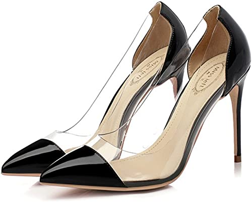 Hyun Times zapatos de Tacón Alto con luz Fina con zapatos de Colors Mezclados de plástico Transparente
