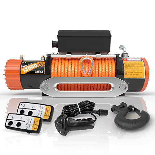 ORCISH 12V 13000-lb Load Capacity Electric Truck Winch Kit Synthetic Rope, Waterproof Off Road Winch for Jeep,Truck,SUV with Wirless Remote