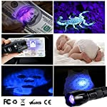 lydnkim UV LED Torch Blacklight 365nm UV Flashlight Black Light Ultraviolet Detector for Dog Cat Urine, Pet Clothing Food Fungus and Bed Bug, Waterproof,3 Modes 16