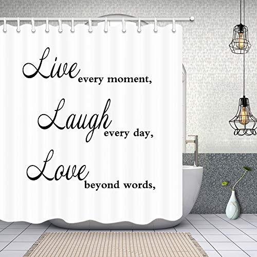 NYMB Live Laugh Love Tapeten-Duschvorhänge, Zitat Live Every Moment Laugh Every Day Love Beyond Words, schimmelresistenter Stoff, wasserfester Duschvorhang, Badezimmer-Zubehör-Sets 70