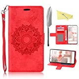 Rosa Schleife Huawei P8 Lite Hülle Rot, Premium PU Leder Tasche Flip Cover Totem Blume Entwurfe im Bookstyle & Trageschlaufe mit Magnet Kartenfächer Standfunktion Handyhülle(5.0 Zoll)
