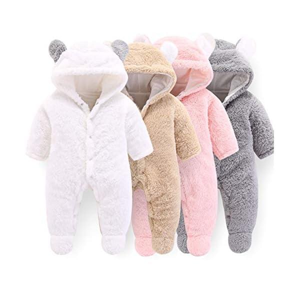 BITSEACOCO Newborn Baby Bear Warm Snowsuit, Cotton Fleece Cute Unisex Hooded Onesies Romper Jumpsuit Winter Clothes