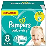 Pampers Windeln Größe 8 (17+kg) Baby Dry, 100 Stück, MONATSBOX