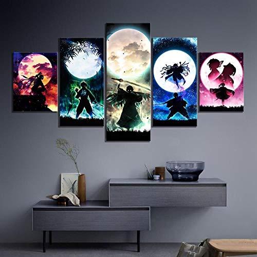 IKDBMUE enmarcados para decoración de Pared Obra De Arte Pintura Anime Papel 5 Piezas Pictures Posters Livin Room Paintings Modular
