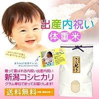 【出産内祝い】赤ちゃん体重米(赤ちゃんと同じ重さのお米)だっこしてね! のし紙・メッセージカード(写真入りタイプ)付き