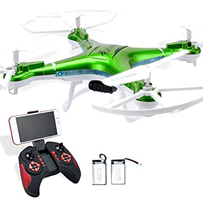 Quadcopter Drone with Camera Live Video, Drones FPV HD WiFi Camera with Remote Control, Free Extra Battery and Quadcopters Crash Replacement Kit with LED Lights, Easy Use for Beginners Kids GRN