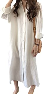 Vestido Camisero de Lino y algodón para Mujer Vestidos Largos Sueltos de Manga Larga Casuales
