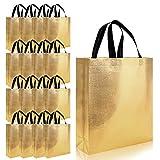 16pcs Glossy Reusable Grocery Shopping Bag Tote Bag with Handle Present Bag Gift Bag
