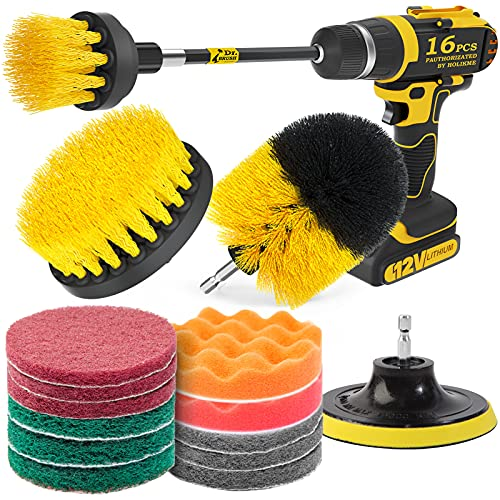 Holikme 16 Piece Drill Brush Power Scrubber Cleaning Brush Extended Long Attachment Set All Purpose Drill Scrub Brushes Kit for Grout, Floor, Tub, Shower, Tile, Bathroom and Kitchen Surface(Yellow)