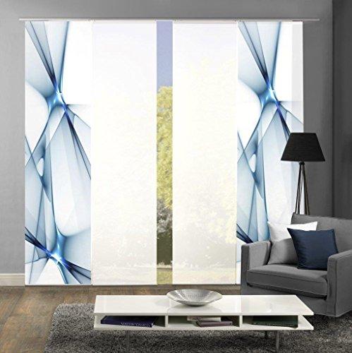 Home Fashion Set-Angebot Flächenvorhang KINGFIELD | wahlweise 3er-, 4er-, 5er oder 6er-Set in blau, rot oder apfelgrün | bestehend aus Motiv- und Uni-Flächenvorhängen | je 245x60 cm (4, blau)