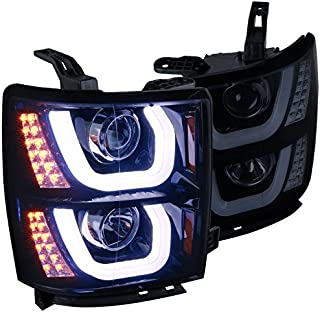Spec-D Tuning 2LHP-SIV14G-TM Chevy Silverado 1500 Glossy Black Halo LED Signal DRL Projector Headlights