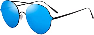 LUKEEXIN Colored Lens Round Shape Metallic Frame UV Protection Sunglasses for Unisex-Adult (Color : Blue)