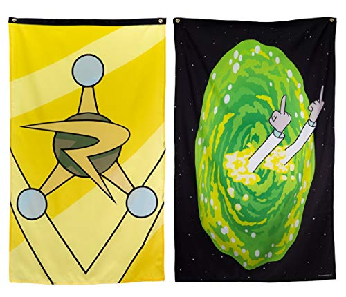 """Calhoun Rick and Morty Indoor Tapestry Wall Banner (30"""" by 50"""") (2-Pack)"""