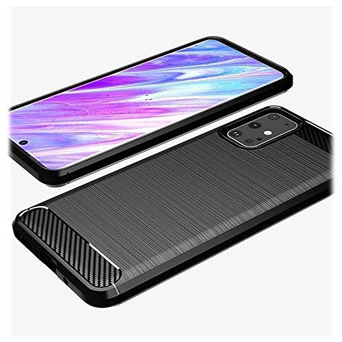 MTP Products - Cover in TPU spazzolato, compatibile con Samsung Galaxy S20+, in fibra di carbonio, colore: Nero