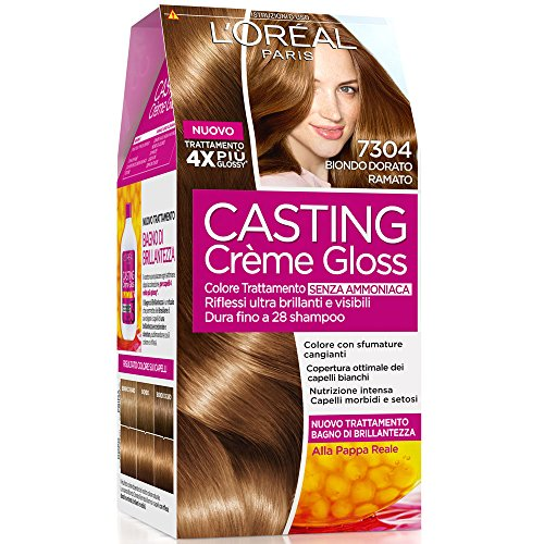 L Oréal Paris Colorazione Capelli Casting Crème Gloss, Tinta Colore Trattamento senza Ammoniaca per una Fragranza Piacevole, 7304 Biondo Dorato Ramato
