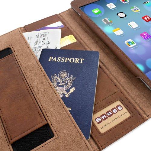 Snugg iPad Air (iPad 5) Exekutive Hülle (Braun)  - Smart Cover mit Kartensteckplätze, Aufsteller, Stylus-Halterung & Premium Nubuck Innenfutter für Apple iPad mini und mini Retina