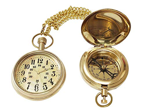 Ganga Nautical Brass Combo Set (Pocket Watch and Magnetic Compass_2.5 Inch)