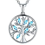 JO WISDOM Collar Colgante Arbol de la vida Familia Plata de ley 925 Cristales 3A Circonita Piedra natal de Marzo Color Aguamarina Mujer Joyería