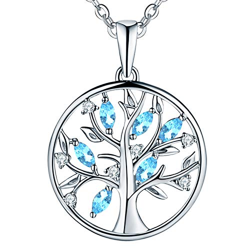JO WISDOM Tree of Life Necklace,925 Sterling Silver March Birthstone Aquamarine Color Family Tree Coin Pendant Necklace