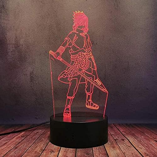 GEZHF Anime Sasuke Espada 3D LED Nightby Japón Comic Naruto Lámpara de oficina USB Sensor táctil remoto Base lámpara decoración casa amigo regalo